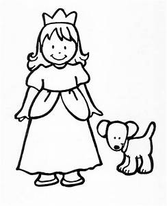 Dibujo colorear princesswithdog Dibujo de Princesas para imprimir