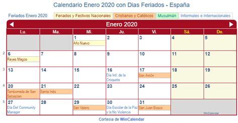 calendario enero imprimir espana