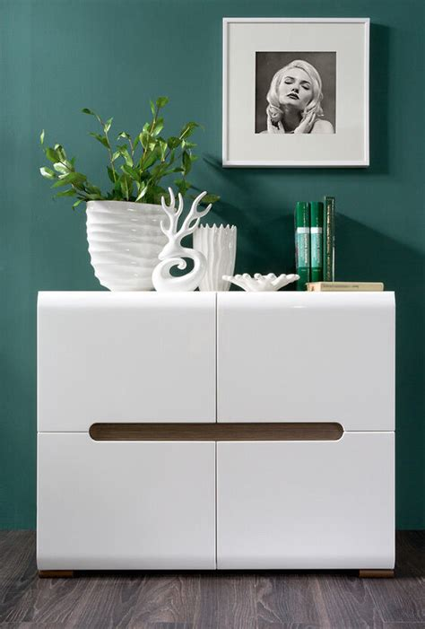 White Sideboard Furniture by White Gloss Sideboard Dresser Buffet 4 Door Cabinet Modern