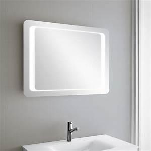 miroir lumineux led salle de bain de 80 a 95x60 cm With meuble miroir salle de bain lumineux