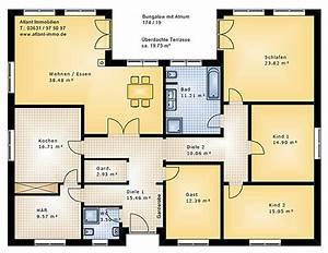 Bungalow Grundriss 130 Qm : bungalow 174 19 mit atrium einfamilienhaus neubau massivbau stein auf stein ~ Orissabook.com Haus und Dekorationen