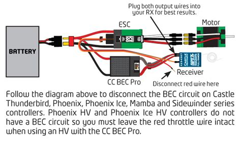 Rc Receiver Wiring Diagram by Castle Creations Bec Pro Switching Regulator 20 Peak