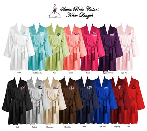 Monogrammed Knee Length Satin Robe, Monogrammed Satin Robes, Monogrammed Bridesmaids Robe