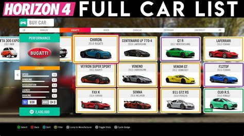 forza horizon 4 all cars dlc list