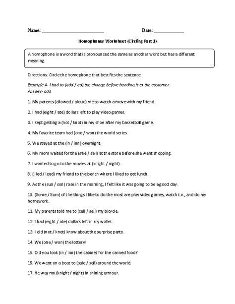 homophone worksheets for 5th grade englishlinx homophones worksheets