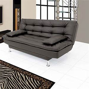 Supersoft leatherette sofa cum bed in black buy for Let out sofa bed