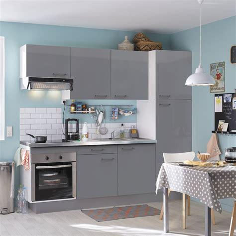cuisine equip馥 studio cuisine équipée gris brillant l 240 cm électroménager inclus leroy merlin
