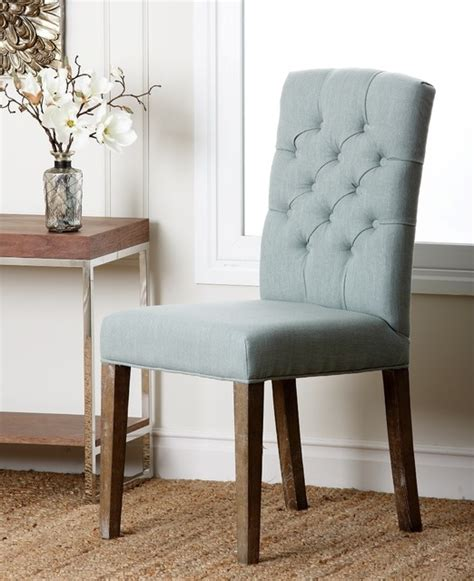 colin blue linen tufted dining chair contemporary