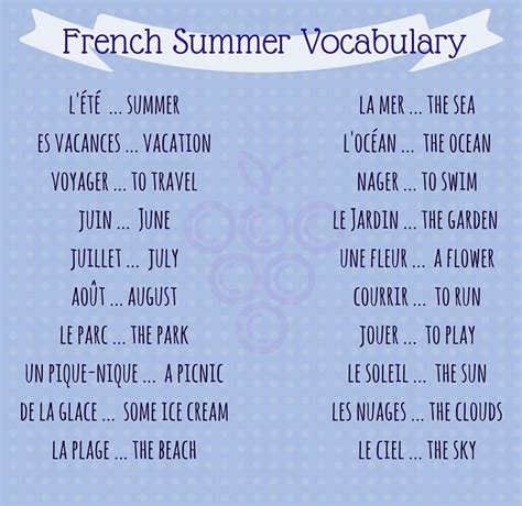 fun french vocabulary words  phrases  summer