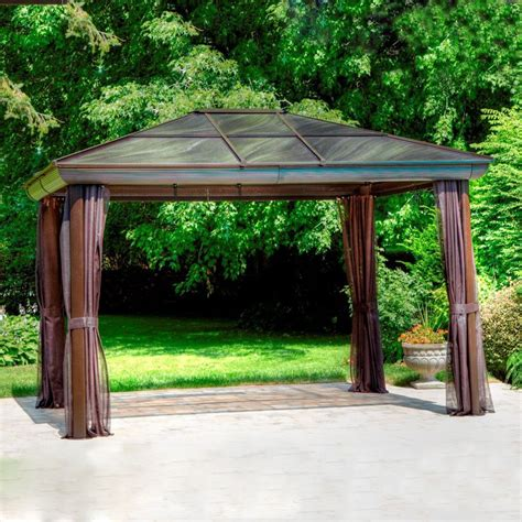 shop gazebo penguin brown aluminum rectangle screened gazebo exterior ft ft
