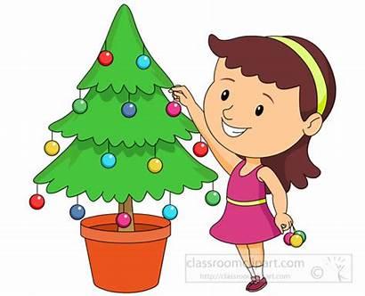 Decorating Tree Christmas Clipart Near Clip Children