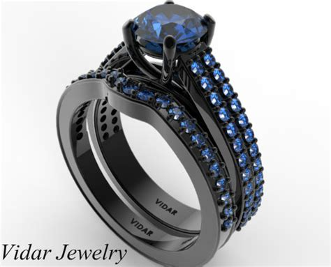 blue sapphire wedding ring sets 39 s blue sapphire wedding ring set in black gold vidar jewelry unique custom engagement
