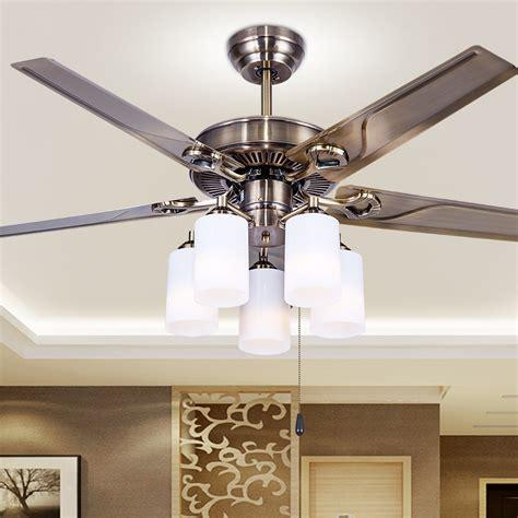Bedroom Ceiling Fan Light European Style Retro Iron Leaf D