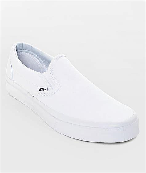 Vans Classic White vans classic slip on true white monochromatic shoes zumiez