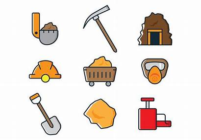 Mining Icons Vector Mine Coal Gold Svg