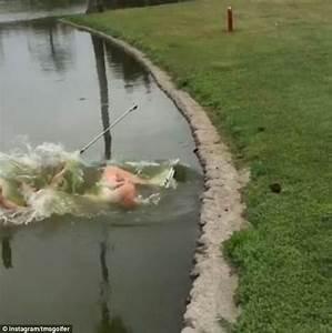 Video shows golfer falls backwards into pond after taking ...