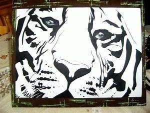 Peinture En Noir Et Blanc : tableau peinture tigre blanc noir et blanc tigre blanc ~ Melissatoandfro.com Idées de Décoration