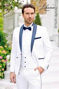 Costume Homme Mariage Blanc : johann smoking de mariage blanc revers satin marine ~ Farleysfitness.com Idées de Décoration