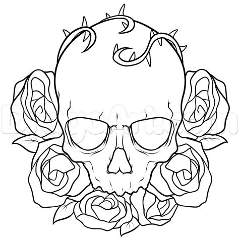 draw  skull  roses tattoo step  step