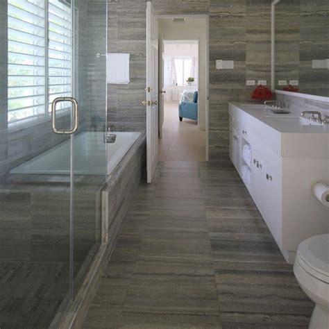 """same tile used on wall, floor, shower. Palladium 12"""" x 20"""