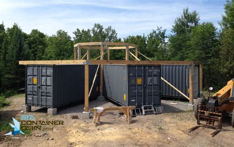 shipping container cabin external framing  great room