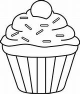 Cupcake Clipart Sprinkles Coloring Drawing Single Template Outline Cupcakes Cookies Fruit Foodclipart sketch template