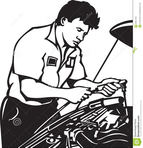 mechanic clipart black and white auto mechanic stock vector image of engine occupation