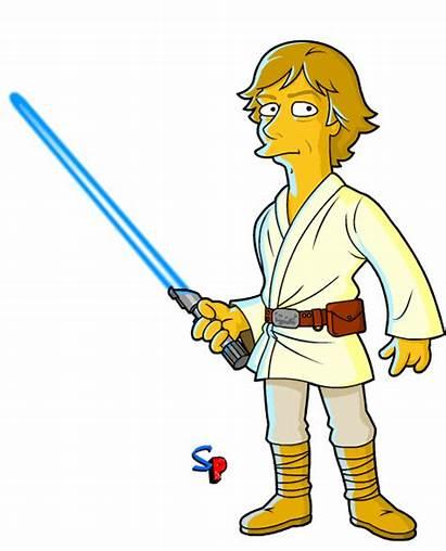 Luke Skywalker Wars Star Cartoon Simpsons Mashup