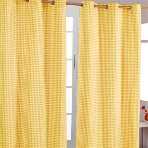 gingham eyelet ready made curtain beige blue pink yellow