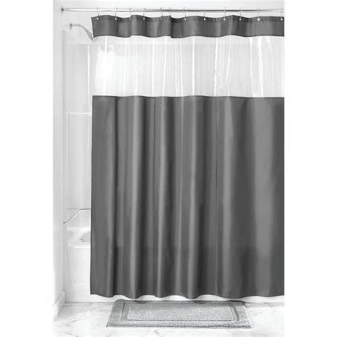 Clear Shower Curtain With Design - interdesign fabric shower curtain with clear window for
