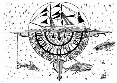Coloring Water Mandala Pages Adults Pirates Mandalas