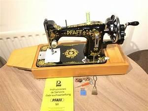 Pfaff 50 Vintage Handcrank Sewing Machine With Instruction