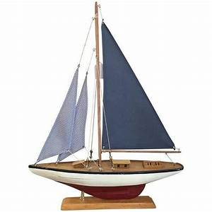 Nautical Sail Boat Model - Red & Blue ($95) liked on