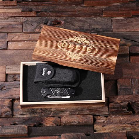 jeep wood box personalized jeep utility knife w case wood box