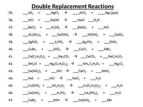 Double Replacement Reaction Worksheet Homeschooldressagecom