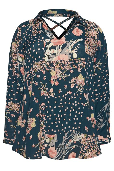 floral cross forms plus size yours london teal blue floral cross back shirt