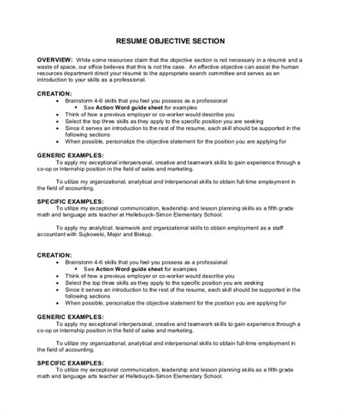 Objective For Resume by Sle Objective 40 Exles In Pdf Word