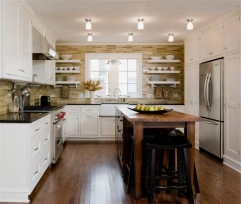 transitional  shaped kitchen layout showcases simply