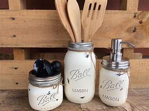 Painted, Mason, Jars, Mason, Jar, Kitchen, Set, Kitchin, Decor