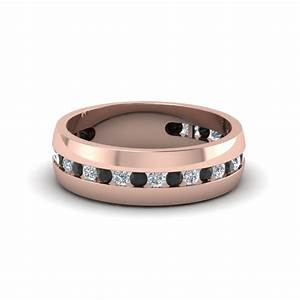 mens channel wedding band with black diamond in 18k rose With black and rose gold mens wedding ring