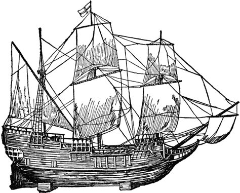 How To Draw A Pilgrim Boat by Mayflower Clipart Etc