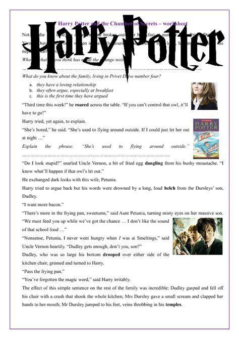 harry potter   chamber  secrets worksheet