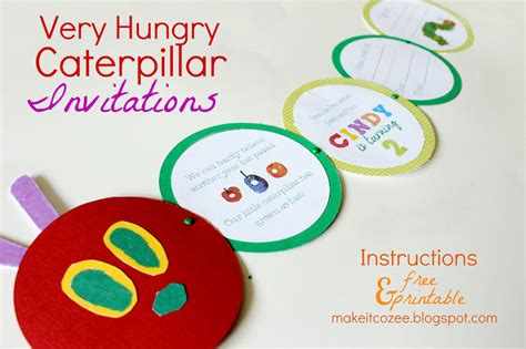 cozee diy  hungry caterpillar invitations