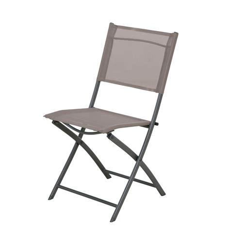chaise pliante plastique chaise de jardin en acier denver taupe leroy merlin