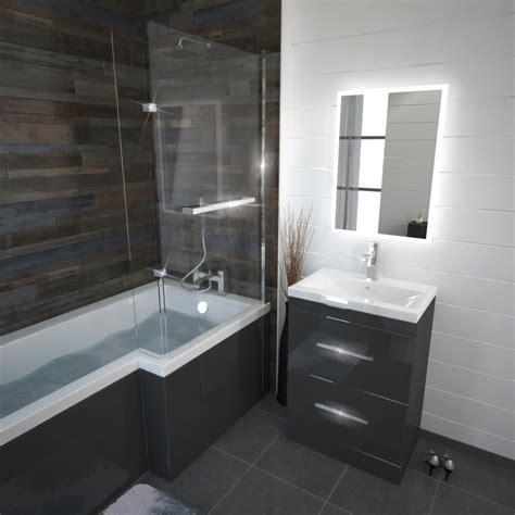 Buy Shower Bath by Patello Grey L Shaped Shower Bath Left Buy At