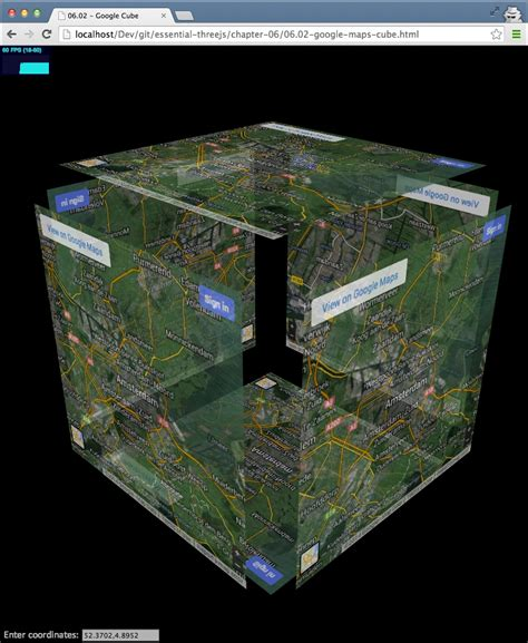 creating  interactive  google maps cube threejs