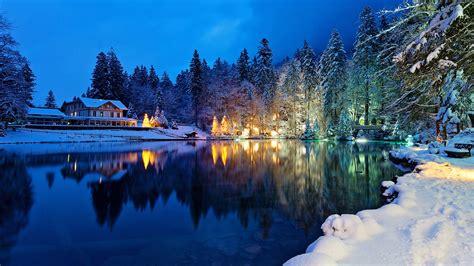 Photo Switzerland Kander Valley Winter Nature Lake Snow
