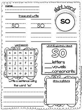 sight word worksheet activities  melissa mcdermott tpt