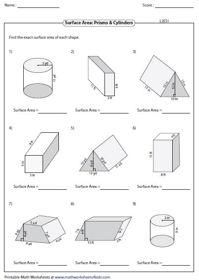 Surface Area Worksheets