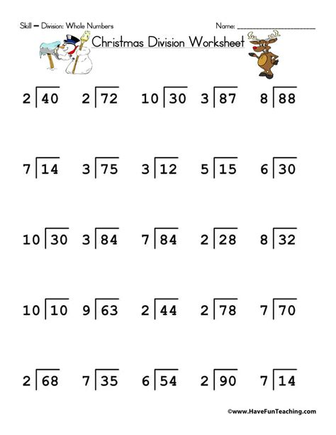 Christmas Division Worksheet  Have Fun Teaching